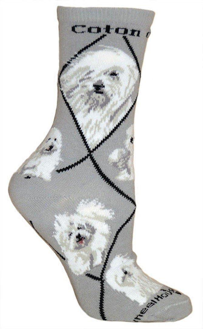 Coton de Tulear on Gray Ultra Lightweight Stretch Cotton Crew Socks One Size Wheelhouse