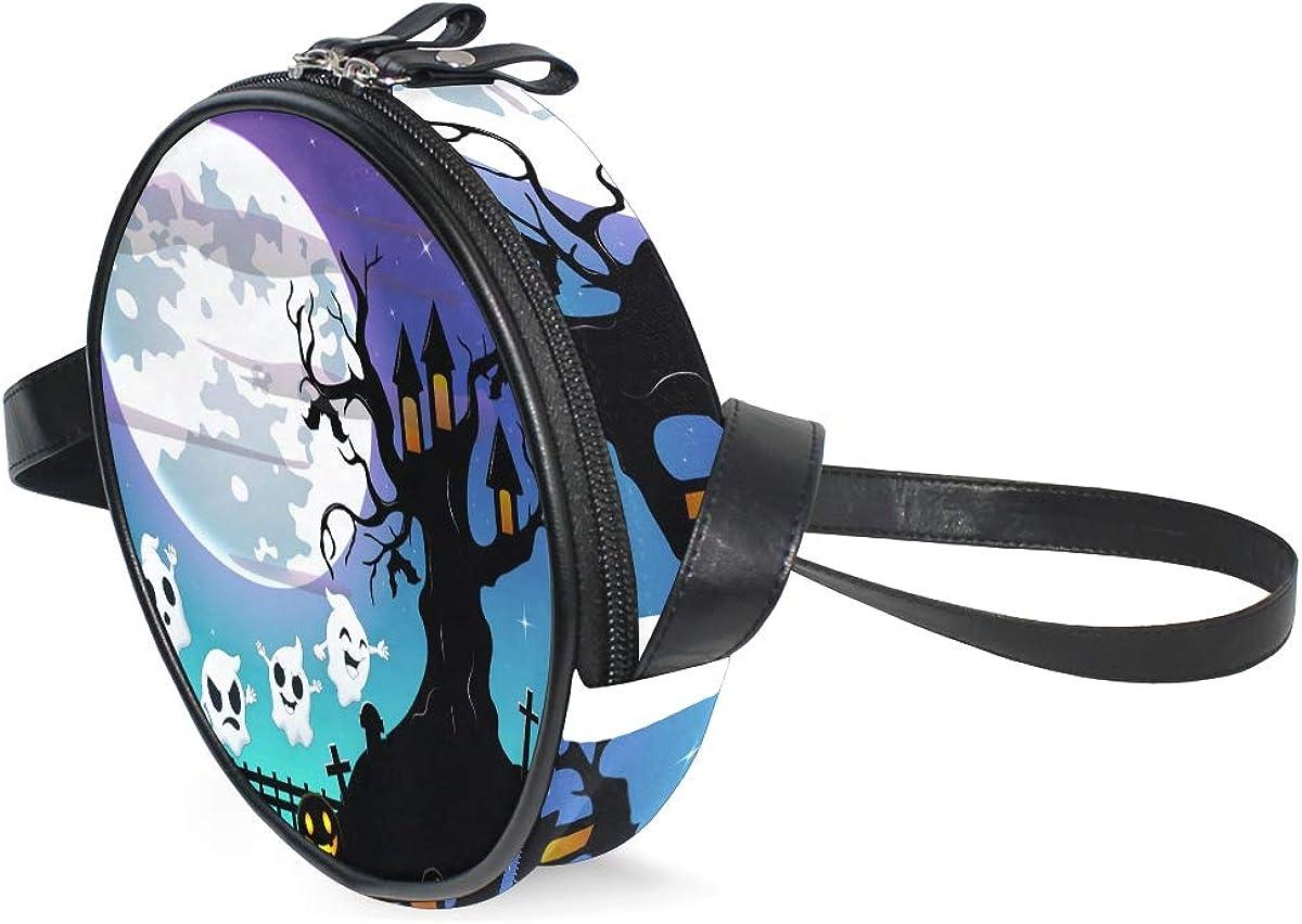 KEAKIA Halloween Moon And Ghost Round Crossbody Bag Shoulder Sling Bag Handbag Purse Satchel Shoulder Bag for Kids Women