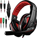 Gaming Headset for PS4 Xbox One Laptop Computer PC Tablet Cellphone, DLAND 3.5mm Wired Bass Stereo Noise Isolation Headphones- Volume Control ( Black and Red )