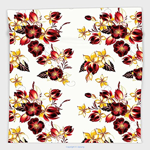 Vipsung Microfiber Ultra Soft Hand Towel-Flowers Floral Decor Seamless Wallpaper Pattern With Flowers Decorative Design Print Yellow Burgundy For Hotel Spa Beach Pool (Toddler Toms Clearance)