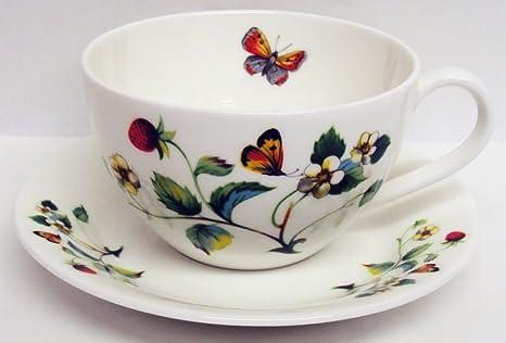 Fresas y mariposas taza de desayuno y platillo (porcelana de ceniza de hueso China fresa
