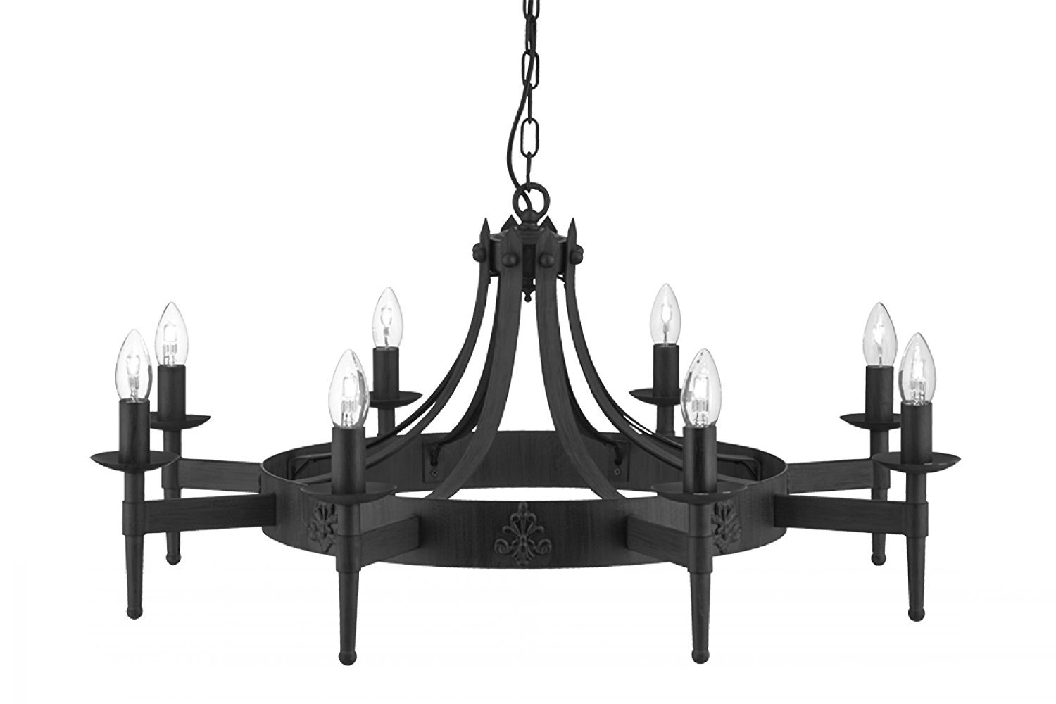 Searchlight cartwheel 8 gothic ceiling light 2428 8bk wrought iron searchlight cartwheel 8 gothic ceiling light 2428 8bk wrought iron black amazon lighting arubaitofo Gallery