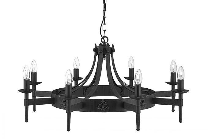 Searchlight Cartwheel 8 Gothic Ceiling Light 2428 8bk Wrought Iron