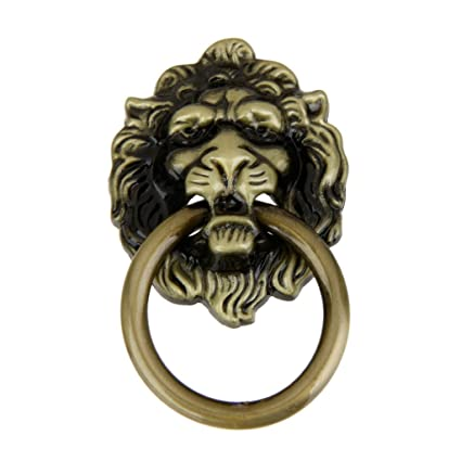 Generic Alloy Vintage Lion Head Pull Handle for Doors, Cabinet, Dresser and Drawer (Brown)