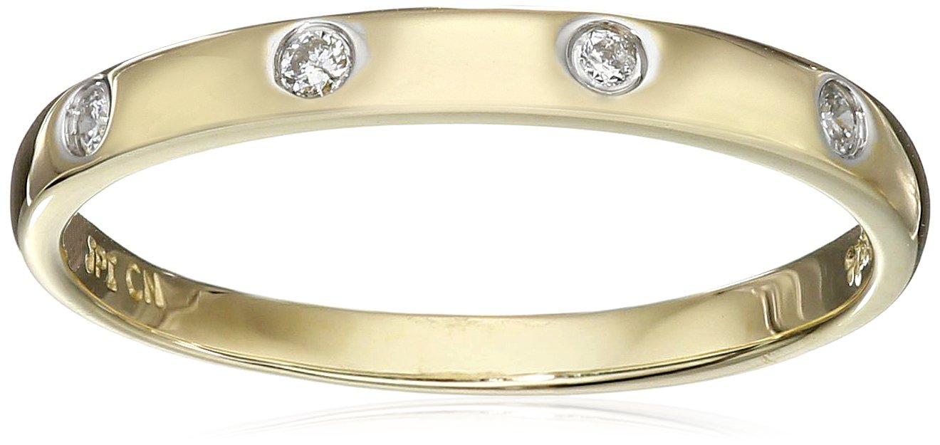 10k Yellow Gold Diamond Accent Band, Size 8 by Amazon Collection