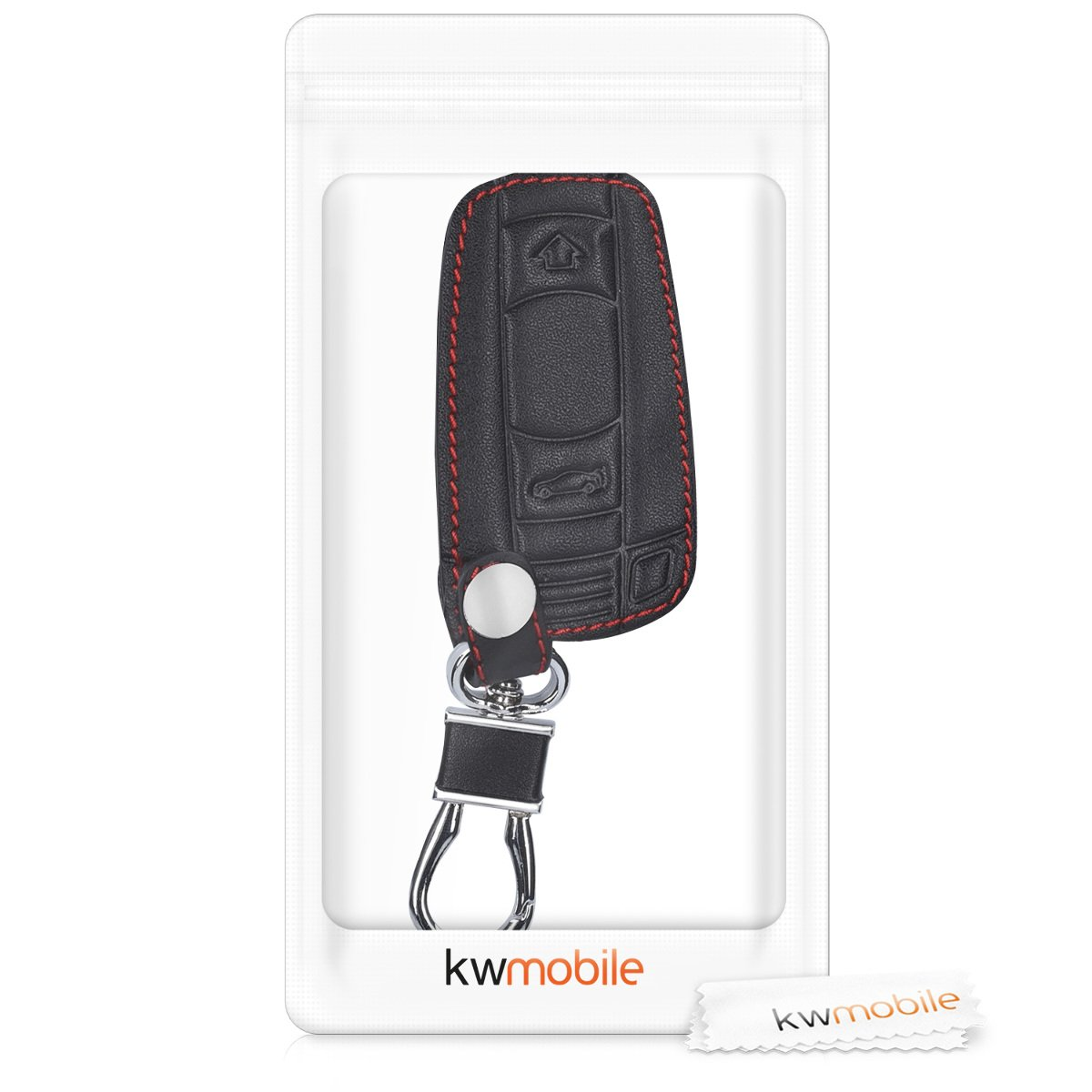 Heavy Duty PU Leather Protective Key Fob Cover for BMW 3 Button Car Key - Black only Keyless Go kwmobile Car Key Cover for BMW
