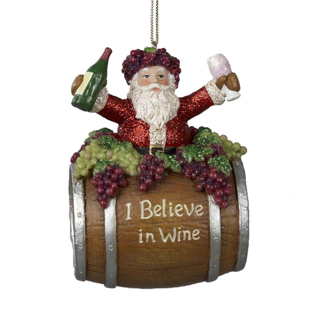 amazon com kurt adler 4 inch polyresin santa on wine barrel