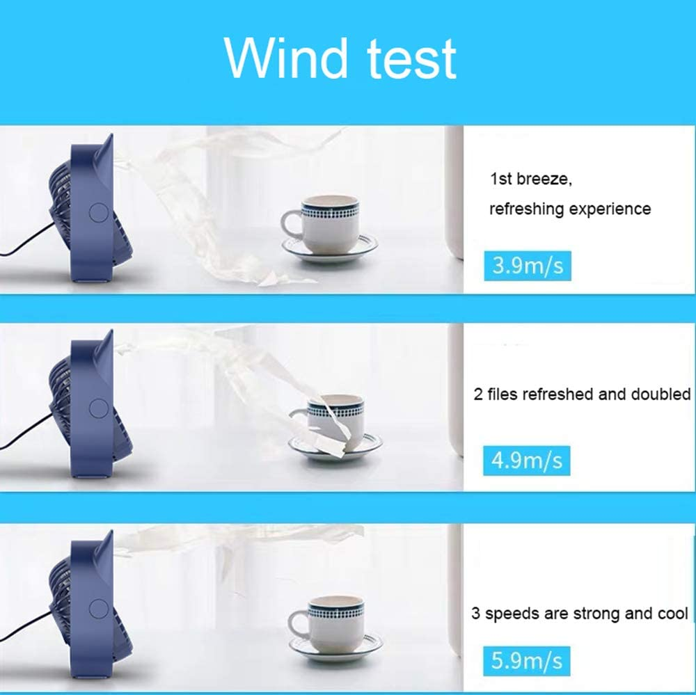 LYXLQ USB Fans Multi-Angle Air Supply Three-Speed Wind Supports Multiple Ways of Power Supply Mini USB Desk Fan Portable