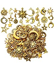 112pcs Antique Gold Alloy Celestial Pendant Charms Sun Moon Star Charms Jewelry Charms Pendants for Jewelry DIY Earrings Necklace Bracelet Making and Crafting