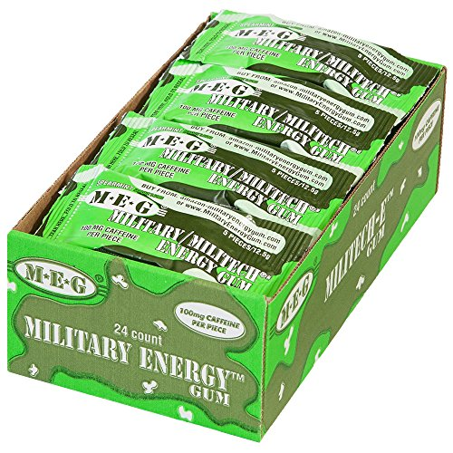MEG - Military Energy Gum | 100mg of Caffeine Per Piece + Increase Energy + Boost Physical Performance + Spearmint (1,440 Count) by MEG (Image #1)
