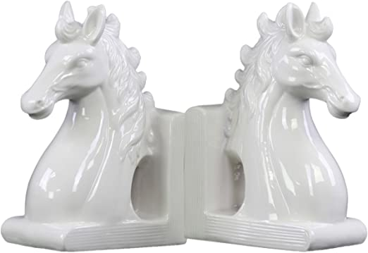 Gloss White Urban Trends Ceramic Horse Head on Base Bookend Set of 2