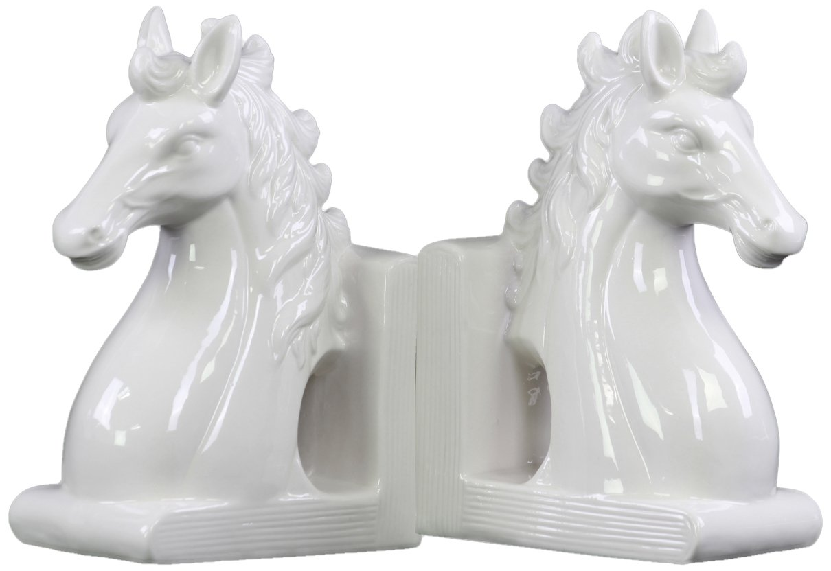 Urban Trends Ceramic Horse Head on Base Bookend (Set of 2), Gloss White by Urban Trends