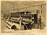 1877 Print Bartlett Planing Machine Geo. W. Reed Lumber Veneer Cutting Machinery - Original Halftone Print