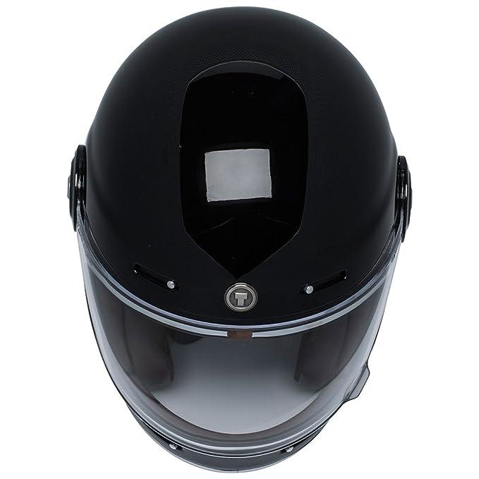 TORC T1 Retro - Casco de moto de fibra de vidrio de cara completa, color negro brillante, talla M: Amazon.es: Coche y moto