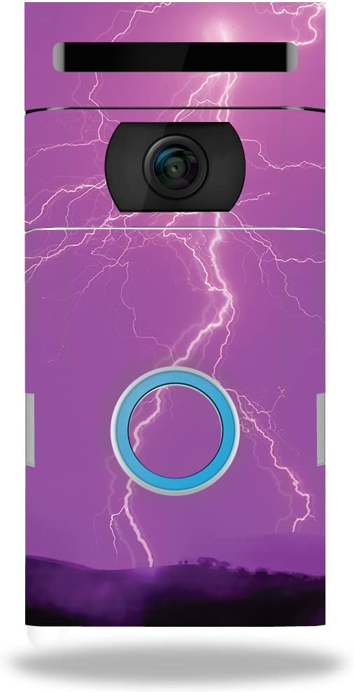 MightySkins Skin Compatible with Ring Doorbell 2 - Purple Lightning | Protective, Durable, and Unique Vinyl Decal wrap Cover | Easy to Apply, Remove, and Change Styles | Made in The USA