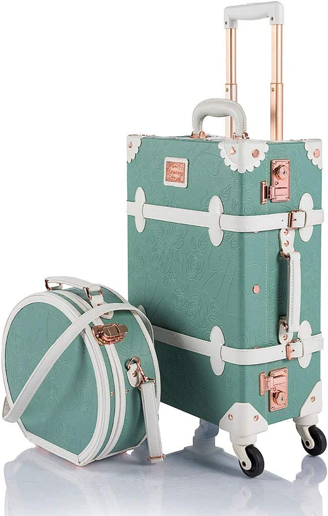 Small Rock Vintage 54cm Cabin Size Suitcase Retro 8 Wheel Spinner Black colour