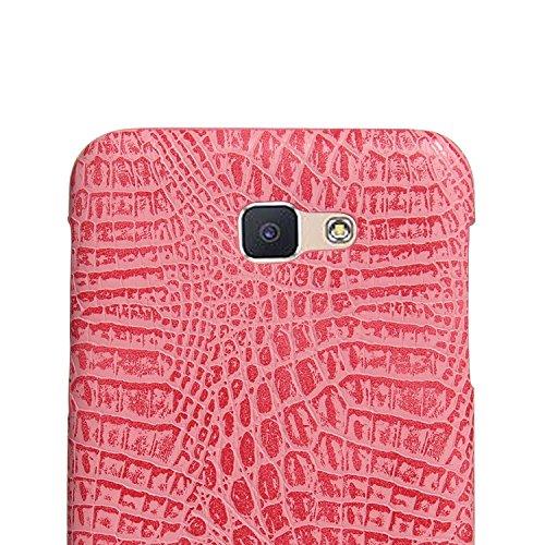 YHUISEN Galaxy J7 Prime Case, patrón de piel de cocodrilo clásico de lujo [ultra delgado] cuero de la PU Anti-rascar la cubierta protectora de la caja dura para Samsung Galaxy J7 Prime / On7 2016 ( Co Pink