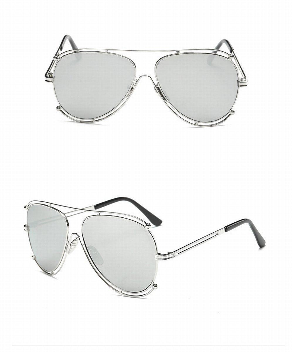 Klassische Piloten Mit Froschgläser Unisex-Sonnenbrille Flache Spiegel-Sonnenbrille Goldrahmen Orange Rote Linse E1Rdo55y