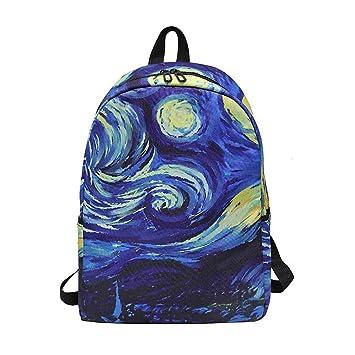 Amazon.com | Daily Women Backpack School Teenager Girls Boys Full Printed Nylon Travel Backpacks Casual Bags Mochilas Sky L29 W11 H40cm | Backpacks