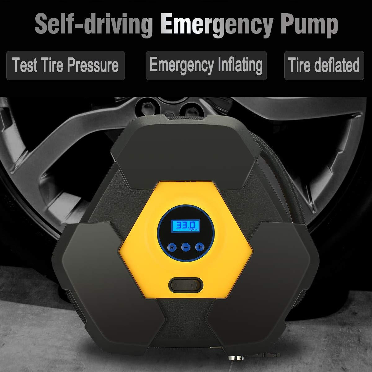 Amazon.com: Alctron Portable Air Compressor Pump 150PSI 12V Digital Tire Inflator for Cars Bikes Motorcycles and Other Inflatables, Built in LED Light: ...