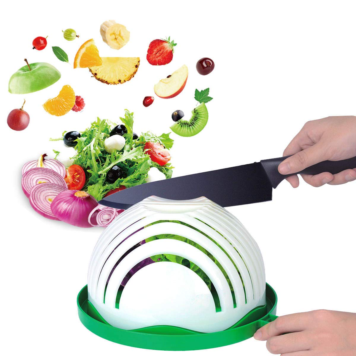 Salad Cutter Bowl, Anglink Upgraded Salad Maker Family Size Fast Vegetable Cutter Bowl, Salad Slicer Salad Chopper Strainer Cutting Board 4 in 1 Durable FDA-Approved for Kitchen by Anglink