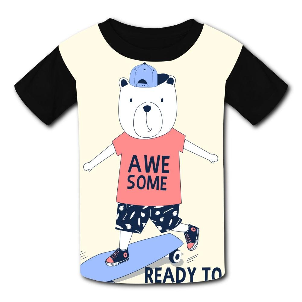 riverccc6.1500 Awesome Bear Ready to Skate Youth T-Shirt Boys Girls Tee