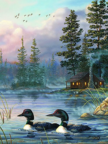 Rivers Edge  Autumn Air Loons  Led Lighted Gallery Wrapped Canvas Art  16  X 12