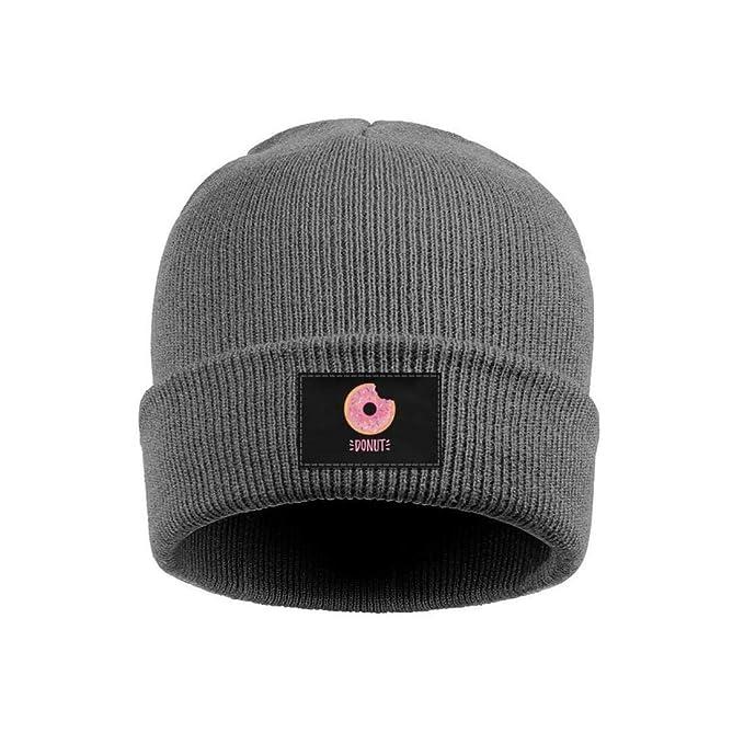 Mini Donut take a bite Mens Warm Knit Cap Pattern Wool Beanie Hats for  Womens d4afe6a159b