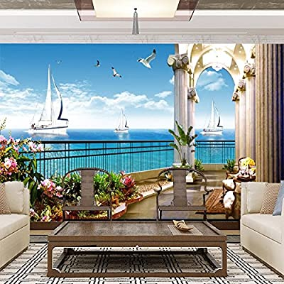 XLi-You 3D Balcony Lantian Baiyun Scenic Ocean View Tv Background Wall Paper Murals