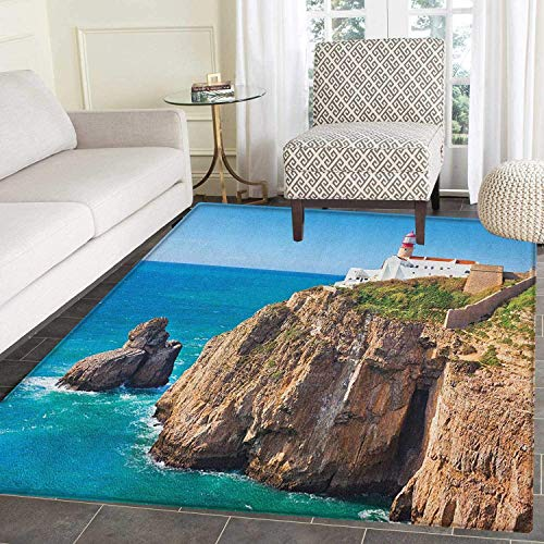 - Lighthouse Rugs for Bedroom Daytime Rocky Lighthouse Shore Seaside Rocks Building Cliff Sunny Day Clear Sky Circle Rugs for Living Room 3'x5' Multicolor