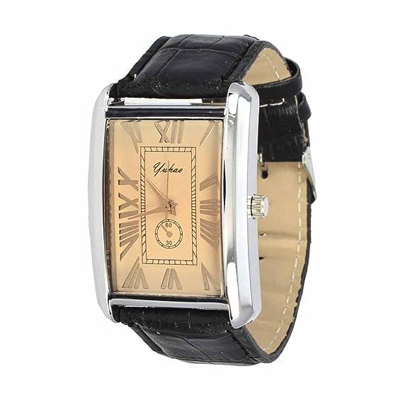 Reloj de Pulsera dial rectangulares números Romanos Acero Inoxidable Impermeable Joya Reloj Mujer Quarzo analógico Negro Tilco 30mm: Amazon.es: Relojes