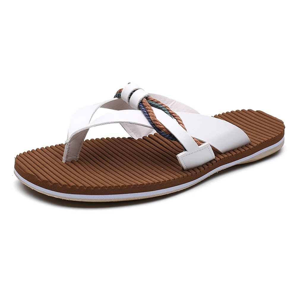 Herren Casual Flip Flops Aus Echtem Weiche Leder Strand Hausschuhe Rutschfeste Weiche Echtem Flache Sandalen,für Männer Weiß b48430