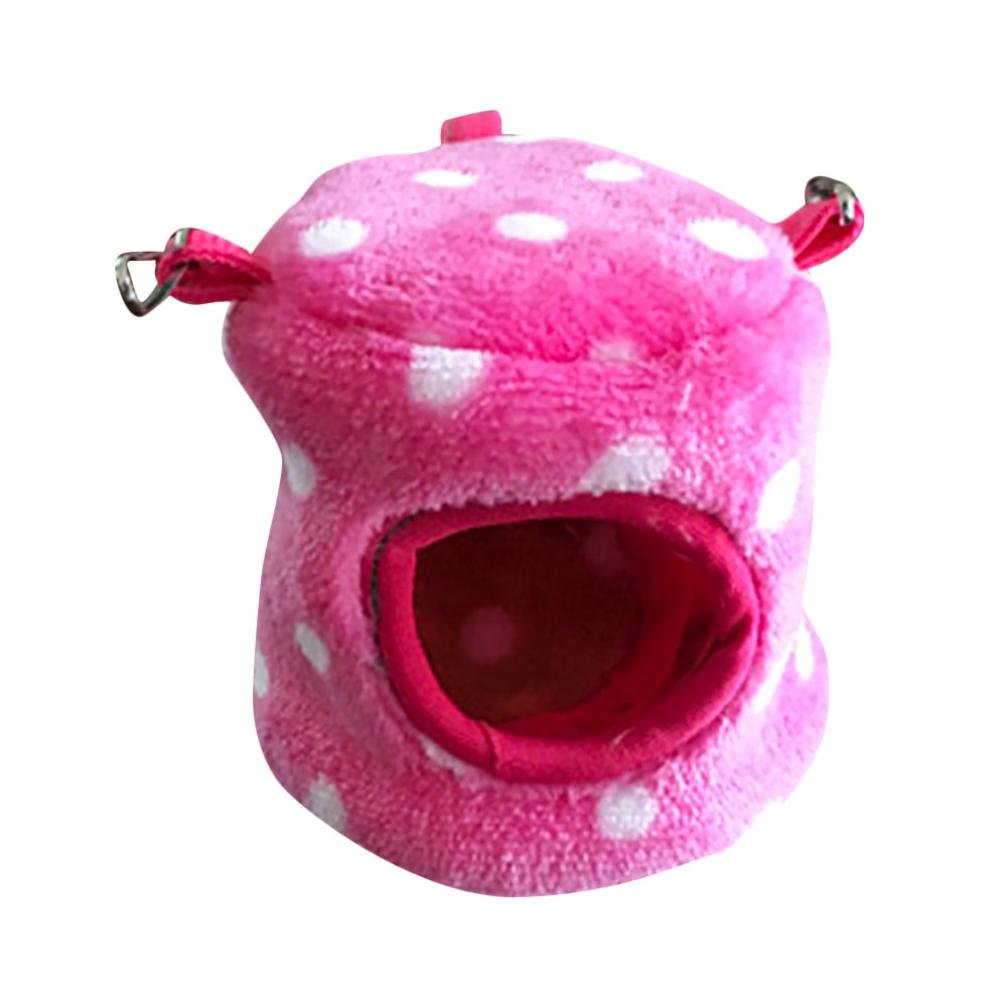 hunpta Small Animal Bed, Small Animal Bed Cave Warm Cute Nest For Hamster Guinea Guinea Pig House (S, Hot Pink)