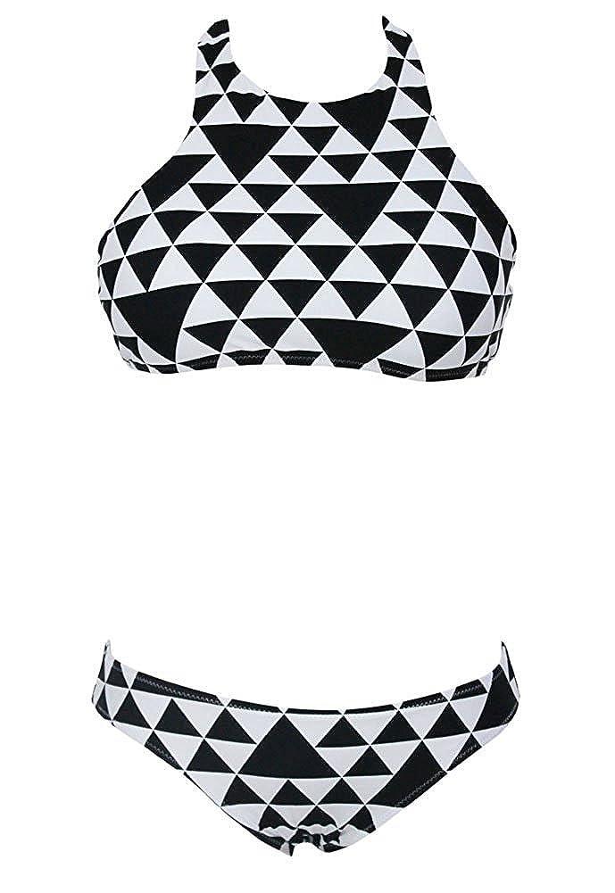 23db3e78e3abe Amazon.com: R6HxiaoFa Womens Sexy Geometric Pattern Triangle Bikini Swimwear  Large Black White Fashion: Clothing