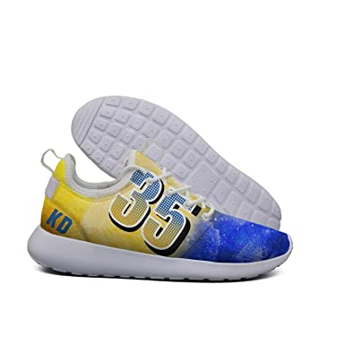 Amazon.com  Uter ewjrt woman blue and yellow 35 KD pattern casual running  shoes mesh sports sneaker  Clothing a2218d17a