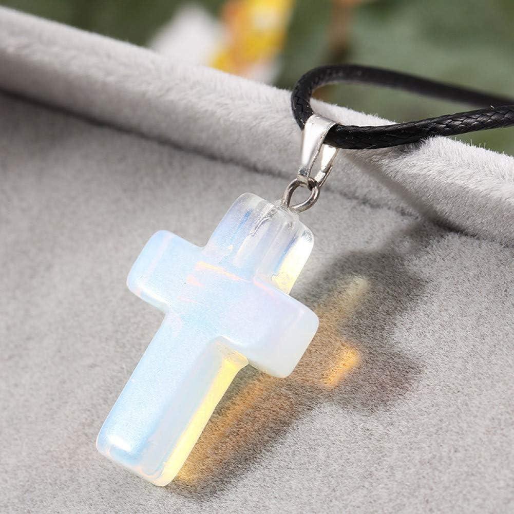 NDIAKOFE Collar Piedra Natural Cruz Collares y Colgantes Gema Piedra Amatistas Turquesa Cuarzo Rosa Collar de Cristal Blanco Joyas con dijes