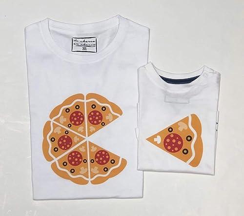 PACK Camisetas M/C Dibujo Pizza (Adulto + Niño/Niña o Bebé ...