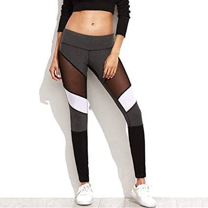 d3224648cb169 Image Unavailable. Image not available for. Color: RIOJOY Mesh Yoga Pants  for Women High Waisted Compression Fitness Leggings Active Workout Running  ...