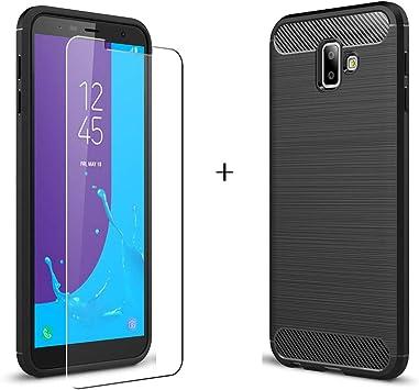 LJSM para Samsung Galaxy J6 Plus 2018 / J6+ Funda Negro Fibra de ...
