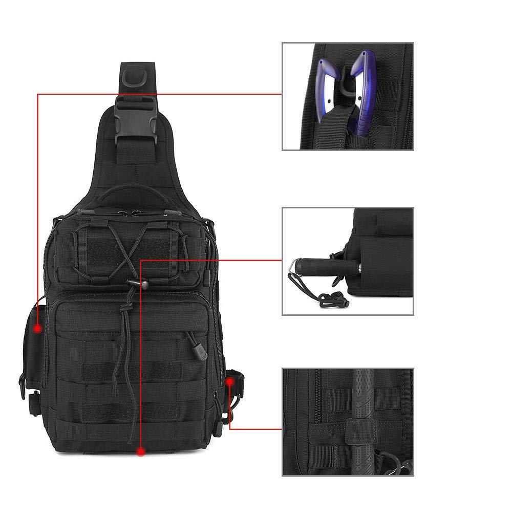 Huntvp Tactical Sling Poitrine Pack Molle Daypack Mini Sac /À Dos Assault Pack pour Camping Randonn/ée Trekking