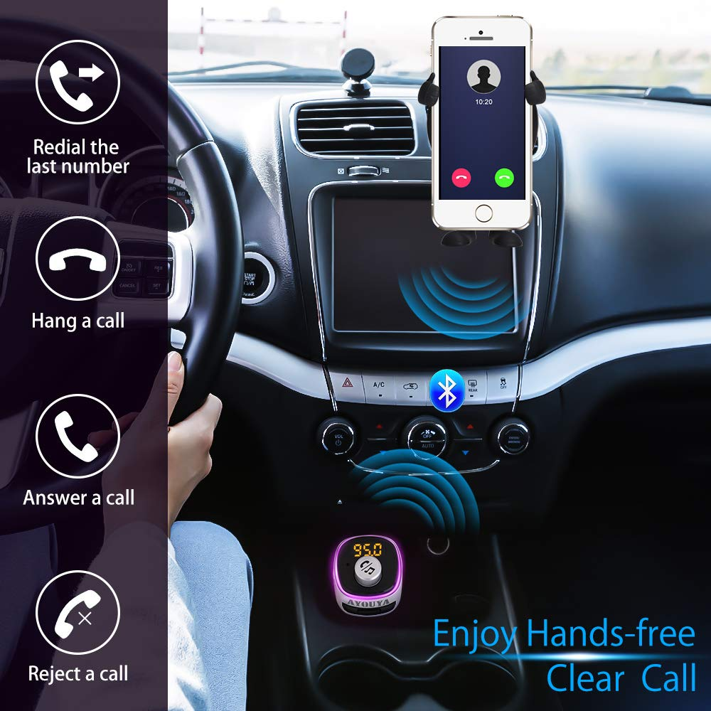 FM Transmitter Car Bluetooth 4.2 with Fastest Phone Charger QC 3.0, Car Radio Audio Adapter, FM Modulator Car MP3 Player Handsfree Car Kit Support QC3.0 Dual USB Charge