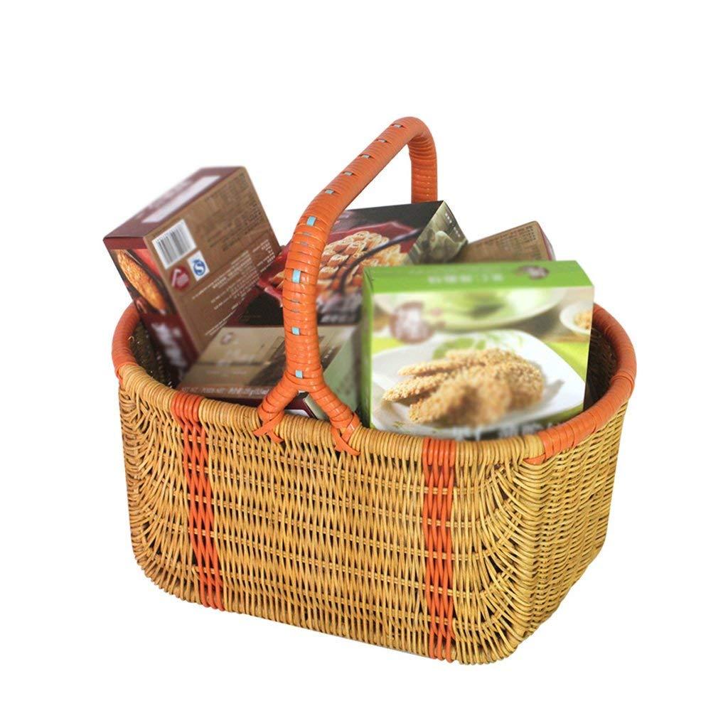Storage Basket Plant Rattan, Basket Picnic Outdoor Shopping Clothes Food Organizer Big Space Portable, 38x25x33cm,Green