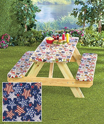 Amazoncom Pc Picnic Table Covers Americana Stars Color - Outdoor picnic table covers