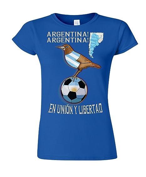 Argentina Football Mascot Ladies Camiseta Para Mujer World Cup T-Shirt: Amazon.es: Ropa y accesorios