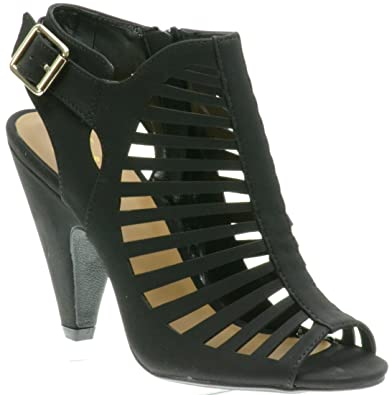f790450644197 Delicious Shoes, Cut Out Peep Toe Stacked Faux Wood Heel Ankle Buckle Strap  Leatherette Khaki Sandal