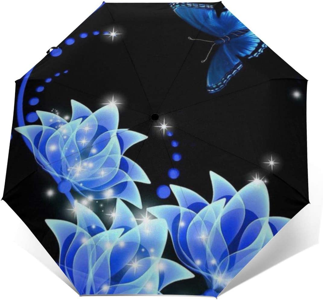 Blue Flowers Automatic Tri-Fold Umbrella Parasol Sun Umbrella Sunshade