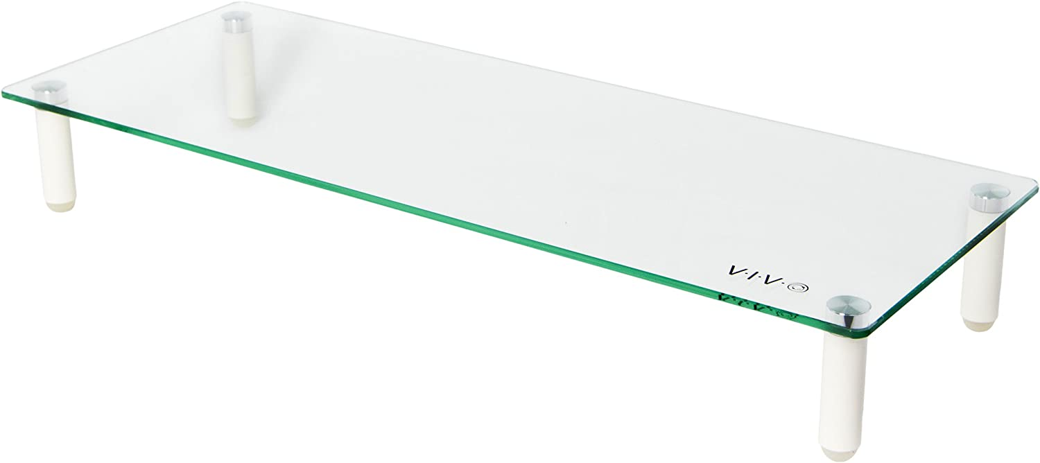 VIVO Glass Ergonomic Tabletop Riser, Desktop Stand for Computer Monitor, LCD LED TV, Monitor, Laptop, Notebook, and More (STAND-V000R)
