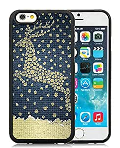 Featured Desin iPhone 6 Case,Christmas Deer Black iPhone 6 4.7 Inch TPU Case 11