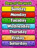 Days of The Week Chart by School Smarts Fully Laminated,Durable Material Rolled and Sealed in Plastic Poster Sleeve for Protection. Discounts are in The Special Offers Section of The Page.