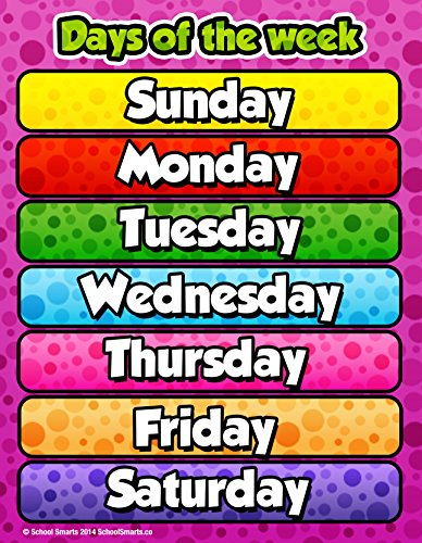 Poster Day - Days of The Week Chart by School Smarts Fully Laminated,Durable Material Rolled and Sealed in Plastic Poster Sleeve for Protection. Discounts are in The Special Offers Section of The Page.